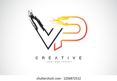 VP Creative Modern Logo Design Vetor with Orange and Black Colors. Monogram Stroke Letter Design.