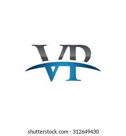 VP initial company blue swoosh logo