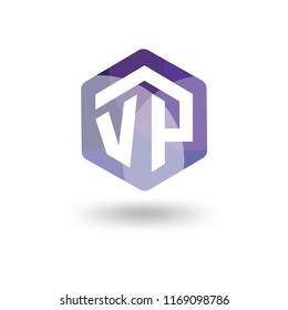 VP Initial letter hexagonal logo vector