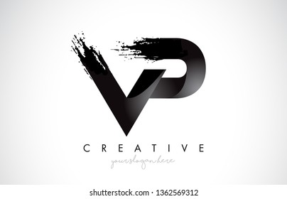 VP Letter Design with Brush Stroke and Modern 3D Look Vector Illustration.