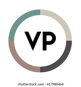 VP letter, four colors in abstract background logo, design identity in circle, alphabet letter