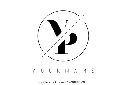 VP Letter Logo with Cutted and Intersected Design and Round Frame Vector Illustration