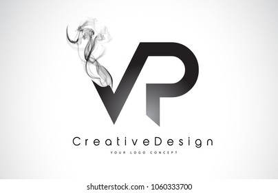 VP Letter Logo Design with Black Smoke. Creative Modern Smoke Letters Vector Icon Logo Illustration.