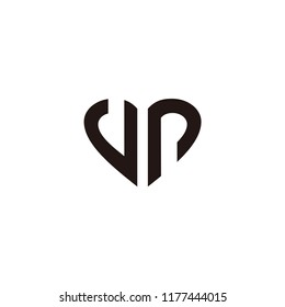 vp letter vector logo. love with initial vector. heart with initial vector