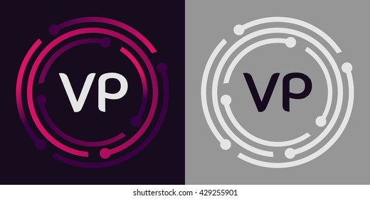 VP letters business logo icon design template elements in abstract background logo, design identity in circle, alphabet letter