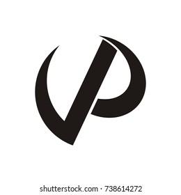 VP logo letter design template vector