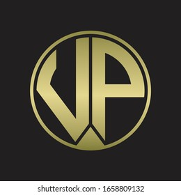 VP Logo monogram circle with piece ribbon style on gold colors
