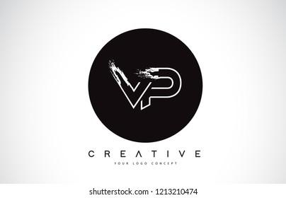 VP Modern Leter Logo Design with Black and White Monogram. Creative Letter Logo Brush Monogram Vector Design.