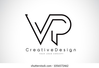 VP V P Letter Logo Design in Black Colors. Creative Modern Letters Vector Icon Logo Illustration.