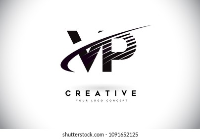 VP V P Letter Logo Design with Swoosh and Black Lines. Modern Creative zebra lines Letters Vector Logo