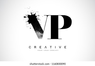 VP V P Letter Logo Design with Black Ink Watercolor Splash Spill Vector Illustration.