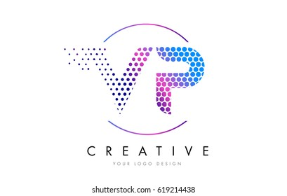 VP V P Pink Magenta Dotted Bubble Letter Logo Design. Dots Lettering Vector Illustration