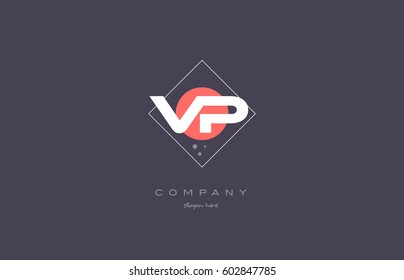 vp v p  vintage retro pink purple rhombus alphabet company letter logo design vector icon creative template background