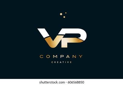 vp v p  white yellow gold golden metal metallic luxury alphabet company letter logo design vector icon template