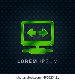 VPN Bright Green chromium precious metallic 3D Icon / Logo Design