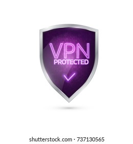 VPN  Connection  Secure. Realistic 3D icon with binary code. Vector concept
