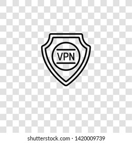 vpn icon from data protection collection for mobile concept and web apps icon. Transparent outline, thin line vpn icon for website design and mobile, app development
