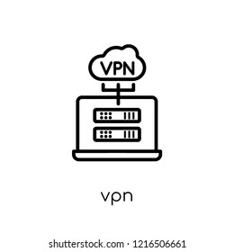 VPN icon. Trendy modern flat linear vector VPN icon on white background from thin line Technology collection, editable outline stroke vector illustration