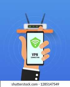 VPN security system. Secure wireless network connection vector illustration. Cartoon hand holding smartphone and use virtual private network. Not blurred router is under all layers