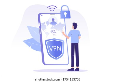 VPN Service Concept. Young man using VPN to protect his personal data in smartphone. Virtual Private Network. Secure network connection and privacy protection. Isolated modern vector illustration