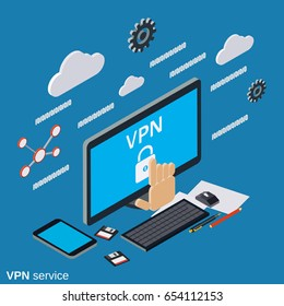 VPN service flat 3d isometric vector concept illustration