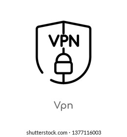 vpn vector line icon. Simple element illustration. vpn outline icon from technology concept. Can be used for web and mobile