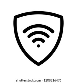VPN - virtual private network icon. Simple shield with wi-fi symbol. Outline modern design element. Simple black flat vector sign with rounded corners.