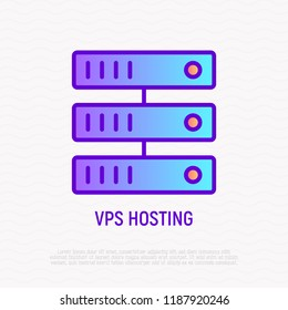 VPS hosting thin line icon. Modern vector illustration of data storage.