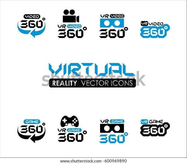 VR 360 Virtual reality icons set