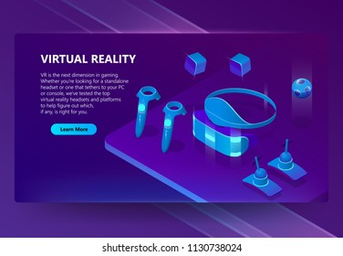 VR, augmented reality vector isometric concept background. Gadgets for cyberspace and gaming, headset and glasses, manipulators. Futuristic web banner for site with button and space for text