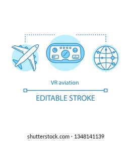 VR aviation concept icon. Pilot training and simulation. In-flight simulator. Virtual reality training airlines personal idea thin line illustration. Vector isolated outline drawing. Editable stroke