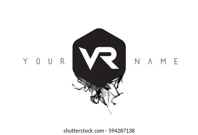 VR Black Ink Letter Logo Design with Rounded Hexagon Vector.