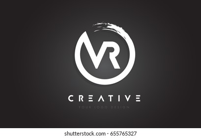 VR Circular Letter Logo with Circle Brush Design and Black Background.