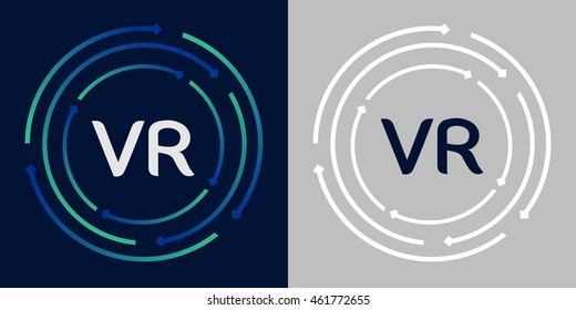 VR design template elements in abstract background logo, design identity in circle, letters business logo icon, blue/green alphabet letters, simplicity graphics