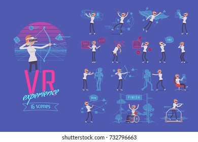 VR female user ready-to-use character set. Various poses, emotions ,experience and sense of realism. Full length, front, rear view isolated, blue background. Virtual reality and entertainment concept