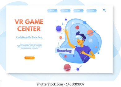 VR game center color vector landing page template. Modern gadgets store web banner. Man in VR headset. Virtual reality games, education, simulation. Cartoon character. Technology, entertainment