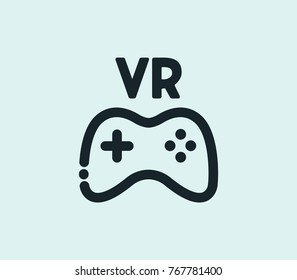 VR game icon line isolated on clean background. Joystick concept drawing VR game icon line in modern style. Vector illustration of VR game icon for your web site mobile logo app UI design.