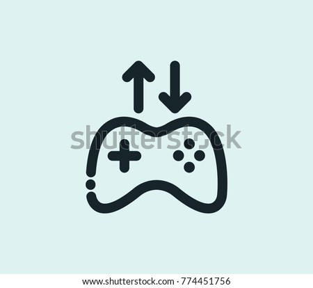 746fd9eb125 VR gamer icon tech controller line isolated on clean background. Game  controller concept drawing VR game controller icon line in modern style.