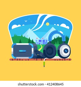 VR gaming. Virtual reality headset, headphones. Vector flat illustration.