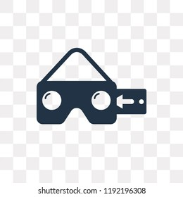 Vr glasses vector icon isolated on transparent background, Vr glasses transparency concept can be used web and mobile