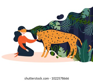 VR glasses vector illustration. Girl in virtual glasses on white background. In the filed of view are jungles and she strokes digital leopard. Concept of augmented reality. Vector flat illustration