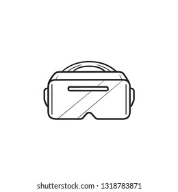 VR goggles hand drawn outline doodle icon. Virtual reality glasses headset, vr technology concept. Vector sketch illustration for print, web, mobile and infographics on white background.