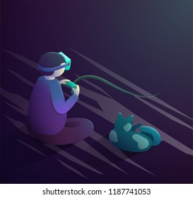 VR headset concept. Boy and cat sitting and playing using vr headset. Vector isometric illustration.