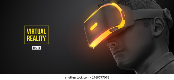 VR headset, gogglas. 3d of the man, wearing virtual reality glasses on black background. VR games. Vector. You will also find a original jpeg for this image in my portfolio. Thanks for watching