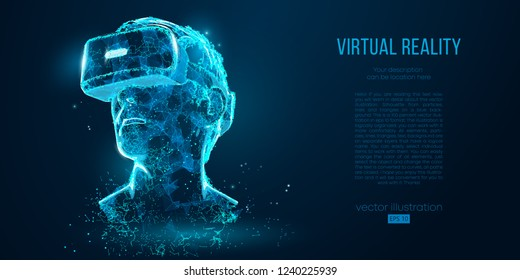 VR headset holographic projection virtual reality glasses, helmet. Low poly wire outline geometric vector illustration. Particles, lines and triangles on blue background. Neon light.