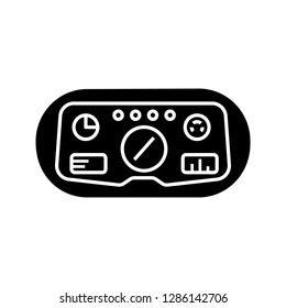 VR headset HUD glyph icon. Silhouette symbol. Head-up display. Thin line illustration. Game player visual interface. Virtual reality mask, glasses. Negative space. Vector isolated illustration