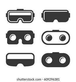 VR Headset Icons Set on White Background. Vector