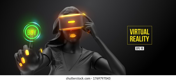 VR headset, online shopping. Woman, wearing virtual reality glasses on black background. Woman buys a goods in one click. Vector. You will also find a original jpeg for this image in my portfolio