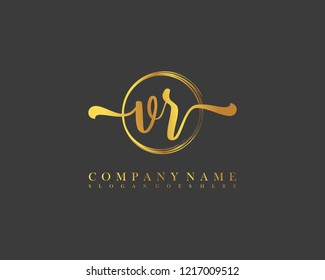 VR initial handwriting logo circle template vector