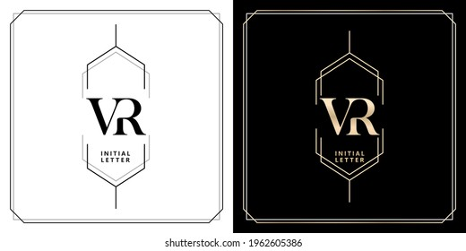 VR initial letter and graphic name, V and R Monogram, for Wedding couple symbolic, logo company and icon business, with three colors variation designs with isolated white backgrounds